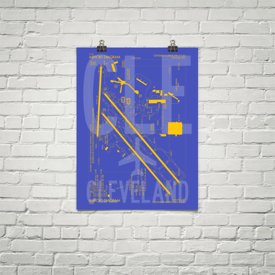 "RWY23 CLE Cleveland Airport Diagram Poster 18""x24"" Brick"