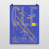 "RWY23 - CLE Cleveland Airport Diagram Poster - Aviation Art - Birthday Gift, Christmas Gift, Home and Office Decor - 18""x24"" Wall"