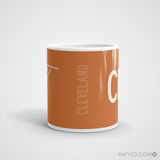RWY23 - CLE Cleveland Coffee Mug - Airport Code and Runway Diagram Design - Student Gift Teacher Gift - Side