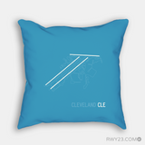 RWY23 - CLE Cleveland Throw Pillow - Airport Runway Diagram Design - Housewarming Gift Aviation Gift