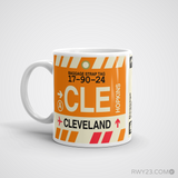 RWY23 - CLE Cleveland Airport Code Coffee Mug - Birthday Gift, Christmas Gift - Left