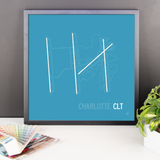"RWY23 CLT Charlotte Airport Runway Diagram Framed Poster Desk 18""x18"""