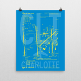 "RWY23 CLT Charlotte Airport Diagram Poster 16""x20"" Wall"