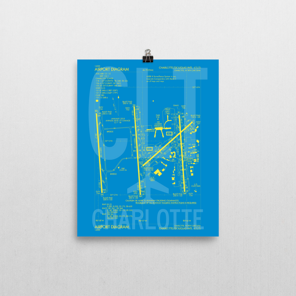 "RWY23 CLT Charlotte Airport Diagram Poster 8""x10"" Wall"