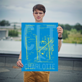 "RWY23 CLT Charlotte Airport Diagram Poster 18""x24"" Person"