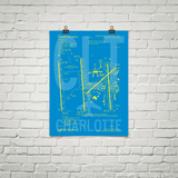 "RWY23 CLT Charlotte Airport Diagram Poster 18""x24"" Brick"