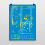 "RWY23 CLT Charlotte Airport Diagram Poster 18""x24"" Wall"