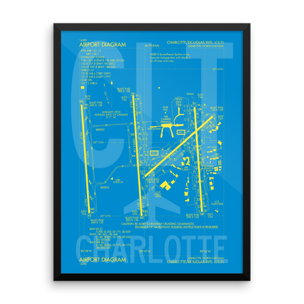 "RWY23 CLT Charlotte Airport Diagram Framed Poster 18""x24"" Wall"