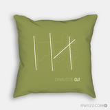 RWY23 - CLT Charlotte Throw Pillow - Airport Runway Diagram Design - Housewarming Gift Aviation Gift