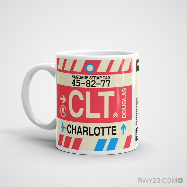RWY23 - CLT Charlotte Airport Code Coffee Mug - Birthday Gift, Christmas Gift - Left