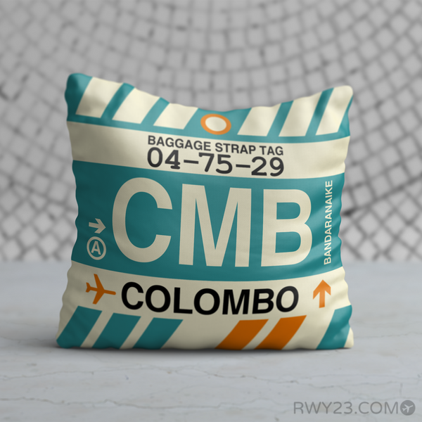 RWY23 - CMB Colombo, Sri Lanka Airport Code Throw Pillow - Birthday Gift Christmas Gift