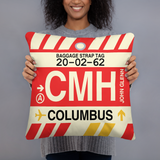 CMH Columbus Throw Pillow • Airport Code & Vintage Baggage Tag Design