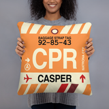 CPR Casper Throw Pillow • Airport Code & Vintage Baggage Tag Design