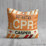 RWY23 - CPR Casper, Wyoming Airport Code Throw Pillow - Birthday Gift Christmas Gift