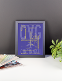 "RWY23 CVG Cincinnati Airport Diagram Framed Poster 8""x10"" Desk"