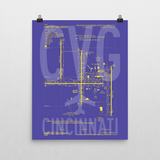 "RWY23 - CVG Cincinnati Airport Diagram Poster - Aviation Art - Birthday Gift, Christmas Gift, Home and Office Decor - 16""x20"" Wall"
