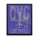 "RWY23 CVG Cincinnati Airport Diagram Framed Poster 16""x20"" Wall"