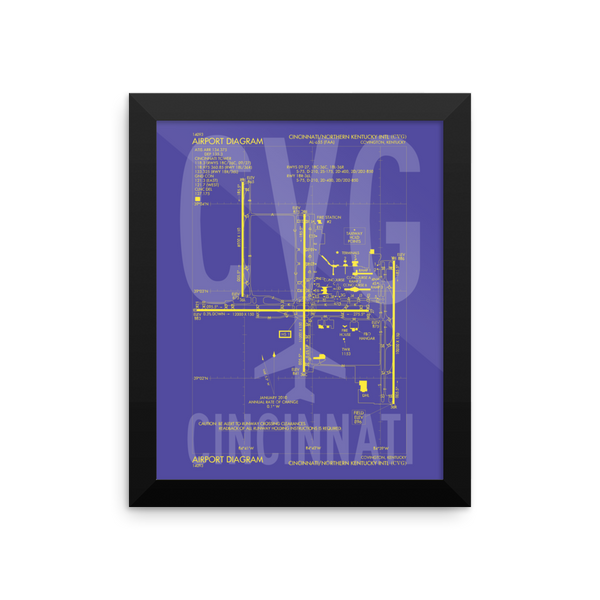 "RWY23 - CVG Cincinnati Airport Diagram Framed Poster - Aviation Art - Birthday Gift, Christmas Gift, Home and Office Decor  - 8""x10"" Wall"