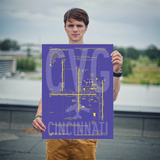 "RWY23 - CVG Cincinnati Airport Diagram Poster - Aviation Art - Birthday Gift, Christmas Gift, Home and Office Decor - 18""x24"" Person"