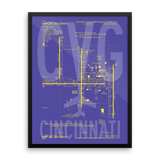 "RWY23 - CVG Cincinnati Airport Diagram Framed Poster - Aviation Art - Birthday Gift, Christmas Gift, Home and Office Decor - 18""x24"" Wall"