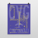 "RWY23 - CVG Cincinnati Airport Diagram Poster - Aviation Art - Birthday Gift, Christmas Gift, Home and Office Decor - 18""x24"" Wall"