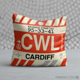RWY23 - CWL Cardiff, Wales (UK) Airport Code Throw Pillow - Birthday Gift Christmas Gift