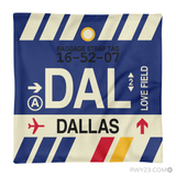 RWY23 - DAL Dallas, Texas Airport Code Throw Pillow - Aviation Gift Travel Gift