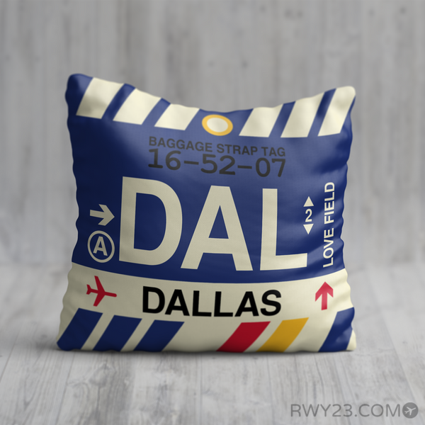 RWY23 - DAL Dallas, Texas Airport Code Throw Pillow - Birthday Gift Christmas Gift
