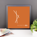 "RWY23 - DCA Washington Airport Runway Diagram Framed Square Poster - Birthday Gift - Desk 14""x14"""