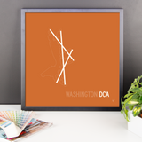 "RWY23 - DCA Washington Airport Runway Diagram Framed Square Poster - Christmas Gift - Desk 18""x18"""
