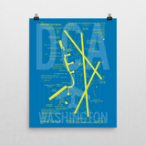 "RWY23 DCA Washington (Reagan National) Airport Diagram Poster 16""x20"" Wall"