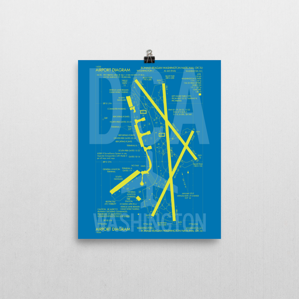 "RWY23 DCA Washington (Reagan National) Airport Diagram Poster 8""x10"" Wall"