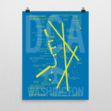 "RWY23 DCA Washington (Reagan National) Airport Diagram Poster 18""x24"" Wall"
