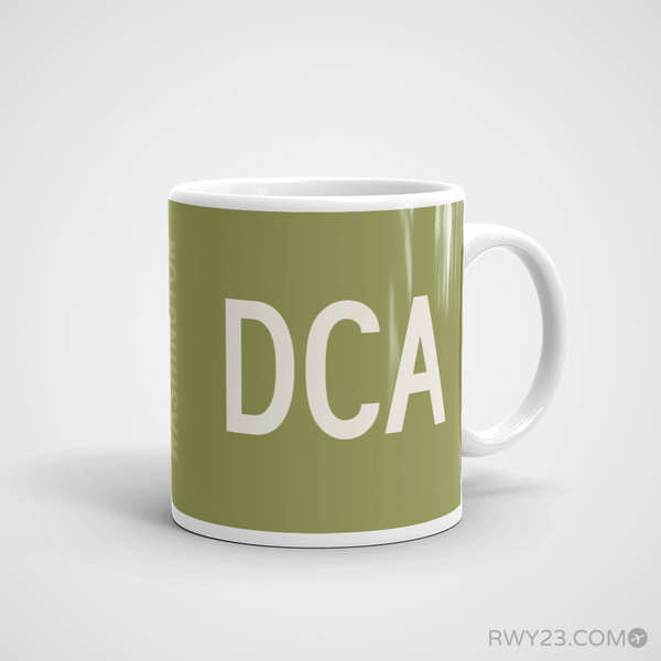 RWY23 - DCA Washington Coffee Mug - Airport Code and Runway Diagram Design - Aviation Gift Birthday Gift - Right