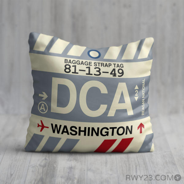 RWY23 - DCA Washington, D.C. Airport Code Throw Pillow - Birthday Gift Christmas Gift