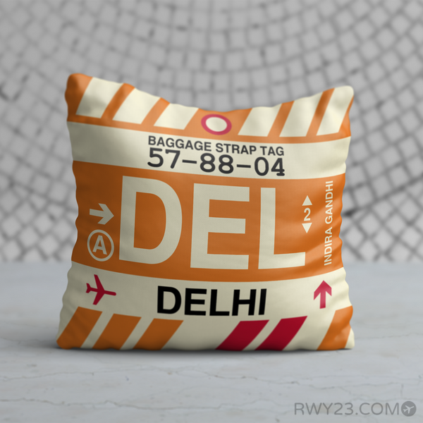RWY23 - DEL Delhi, India Airport Code Throw Pillow - Birthday Gift Christmas Gift