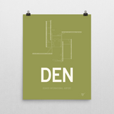 "RWY23 - DEN Denver Airport Runway Diagram Unframed Rectangle Poster - Expat Gift - 16""x20"" Wall"
