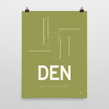 "RWY23 - DEN Denver Airport Runway Diagram Unframed Rectangle Poster - Birthday Gift - 18""x24"" Wall"