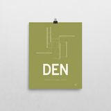 "RWY23 - DEN Denver Airport Runway Diagram Unframed Rectangle Poster - Airport Gift - 8""x10"" Wall"