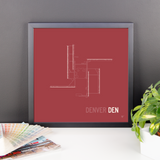"RWY23 - DEN Denver Airport Runway Diagram Framed Square Poster - Birthday Gift - Desk 14""x14"""