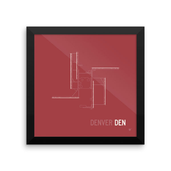 "RWY23 - DEN Denver Airport Runway Diagram Framed Square Poster - Aviation Gift - Wall 10""x10"""