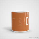 RWY23 - DEN Denver Coffee Mug - Airport Code and Runway Diagram Design - Student Gift Teacher Gift - Side