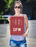 "RWY23 - DFW Dallas-Fort Worth Airport Runway Diagram Unframed Rectangle Poster - Travel Gift - 12""x16"" Person"