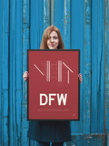 "RWY23 - DFW Dallas-Fort Worth Airport Runway Diagram Framed Rectangle Poster - Birthday Gift - 18""x24"" Person"