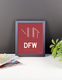 "RWY23 - DFW Dallas-Fort Worth Airport Runway Diagram Framed Rectangle Poster - Expat Gift - 8""x10"" Desk"