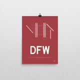 "RWY23 - DFW Dallas-Fort Worth Airport Runway Diagram Unframed Rectangle Poster - Aviation Gift - 12""x16"" Wall"