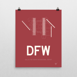"RWY23 - DFW Dallas-Fort Worth Airport Runway Diagram Unframed Rectangle Poster - Expat Gift - 16""x20"" Wall"