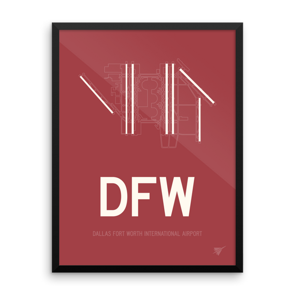 "RWY23 DFW Dallas-Fort Worth Airport Diagram Framed Poster 18""x24"" Wall"