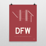 "RWY23 - DFW Dallas-Fort Worth Airport Runway Diagram Unframed Rectangle Poster - Birthday Gift - 18""x24"" Wall"