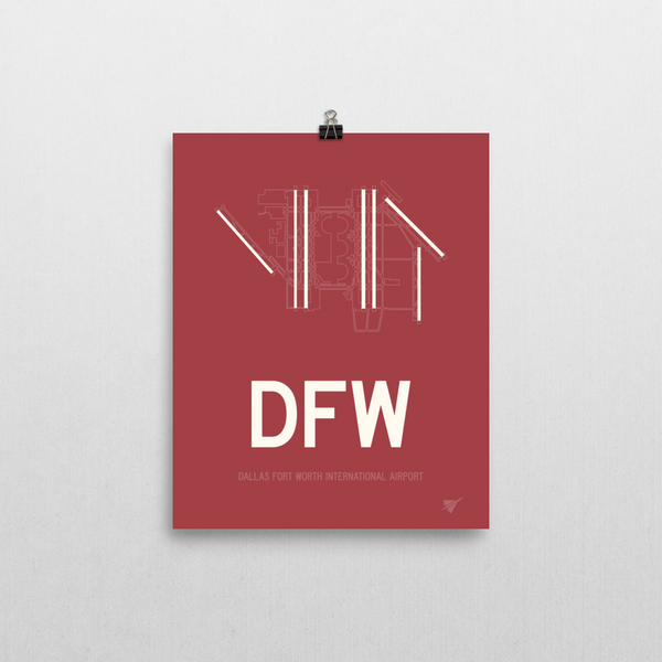 "RWY23 - DFW Dallas-Fort Worth Airport Runway Diagram Unframed Rectangle Poster - Airport Gift - 8""x10"" Wall"